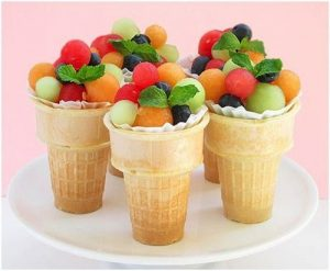 fruit in an ice cream cone